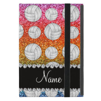 Custom name bright rainbow glitter volleyballs cover for iPad mini