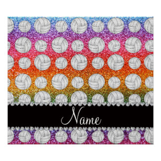 Custom name bright rainbow glitter volleyballs poster