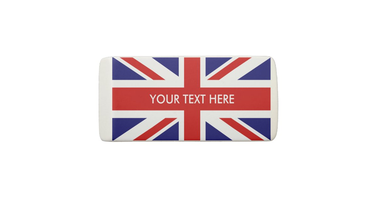 Custom Name British Union Jack Flag Rubber Eraser Zazzle Com
