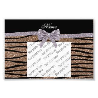 Custom name brown glitter zebra stripes silver bow photo print