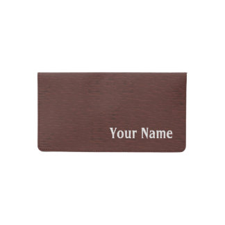 Custom Name Brown Leather Print Checkbook Cover