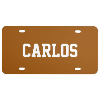 Custom Name Brown License Plate
