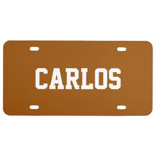 Custom Name Brown License Plate Zazzle