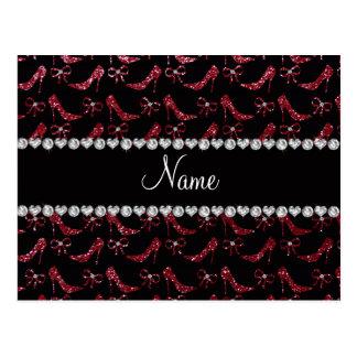 Custom name burgundy glitter high heels bow post card