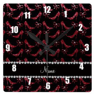 Custom name burgundy glitter high heels bow square wall clock