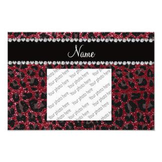 Custom name burgundy glitter leopard print photo print