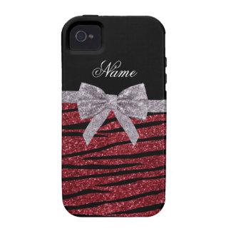 Custom name burgundy glitter zebra stripes bow iPhone 4 covers