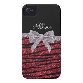 Custom name burgundy glitter zebra stripes bow blackberry cases