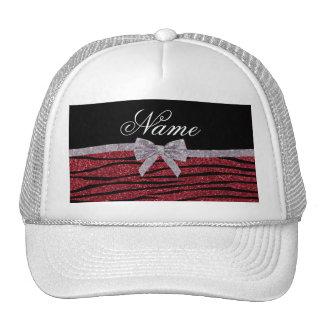 Custom name burgundy glitter zebra stripes bow trucker hat