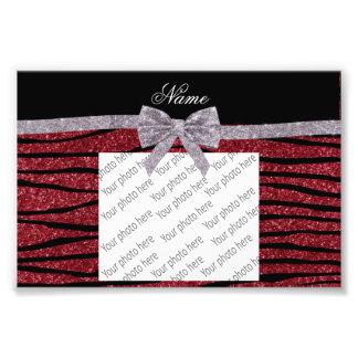 Custom name burgundy glitter zebra stripes bow photo print