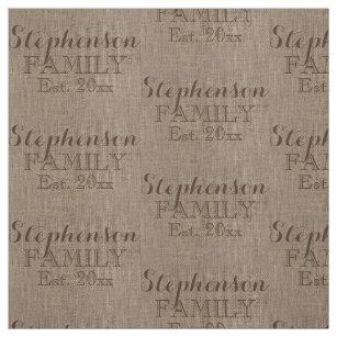 Custom Name Burlap Rustic Print Fabric