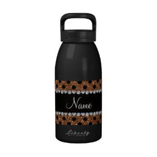 Custom name burnt gold glitter black polka dots water bottle