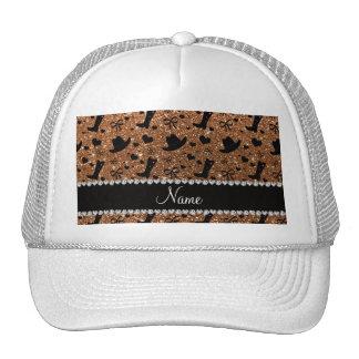 Custom name burnt gold glitter cowboy boots hats