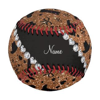 Custom name burnt gold glitter cowboy boots hats baseball