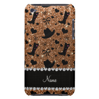 Custom name burnt gold glitter cowboy boots hats Case-Mate iPod touch case