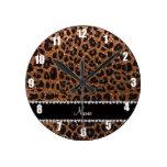 Custom name burnt gold glitter leopard print round wall clocks