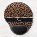 Custom name burnt gold glitter leopard print gel mouse pad