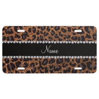 Custom name burnt gold glitter leopard print license plate
