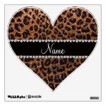 Custom name burnt gold glitter leopard print room sticker
