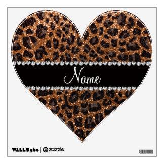 Custom name burnt gold glitter leopard print wall sticker