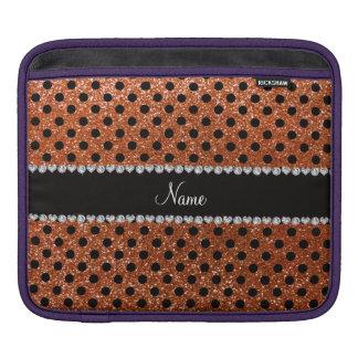 Custom name burnt orange glitter black polka dots sleeve for iPads