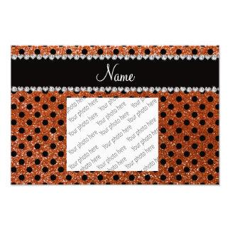 Custom name burnt orange glitter black polka dots photo print