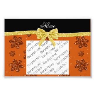 Custom name burnt orange glitter flowers gold bow photo print