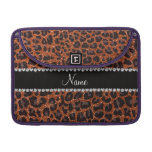 Custom name burnt orange glitter leopard print sleeve for MacBook pro