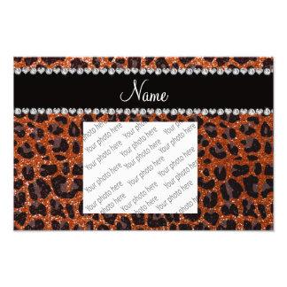 Custom name burnt orange glitter leopard print photo print