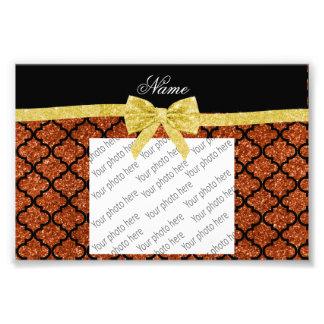 Custom name burnt orange glitter moroccan gold bow photo print