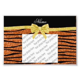 Custom name burnt orange glitter zebra stripes bow photo print