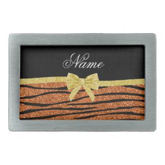 Custom name burnt orange glitter zebra stripes bow rectangular belt buckles