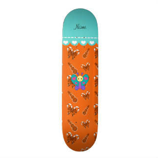 Custom name butterfly orange candy canes snowmen skateboards