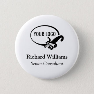 Custom Name Button Business Logo Employee Staff