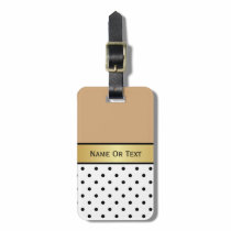 CUSTOM NAME CAMEL BROWN, WHITE & BLACK POLKA DOTS BAG TAG