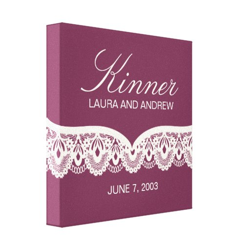 Custom Name Canvas with Lace (burgundy) Canvas Prints