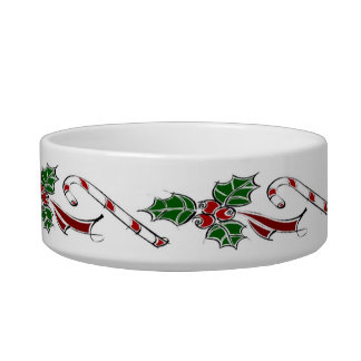 Custom Name Cat Dish With Holly And Candy Canes Cat Food Bowls