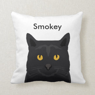 Custom name cat pillow - customizable black cat