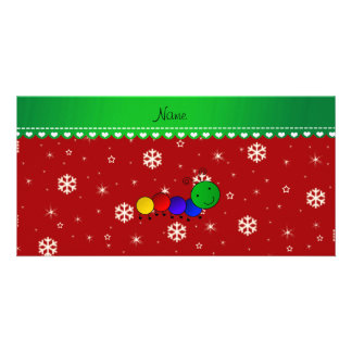 Custom name caterpillar red snowflakes stars photo card