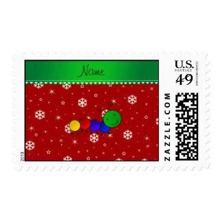 Custom name caterpillar red snowflakes stars postage