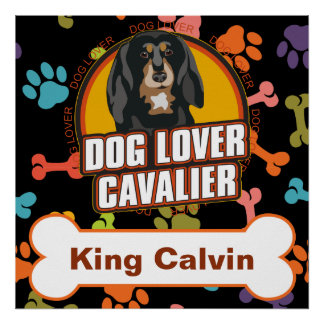 Custom Name Cavalier Dog Lover Bone Puppy Paws Poster