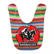 Custom NAME Charro Horse Spanish Mexican Serape Baby Bib