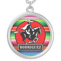 Custom NAME Charro Horse Spanish Mexican Serape Silver Plated Necklace