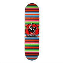 Custom NAME Charro Horse Spanish Mexican Serape Skateboard