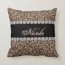 Custom Name Cheetah Bling Look Pillow Gift