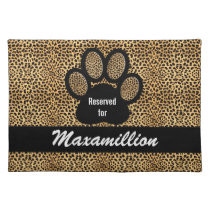 Custom Name Cheetah Print Pet Dinner Cloth Placemat