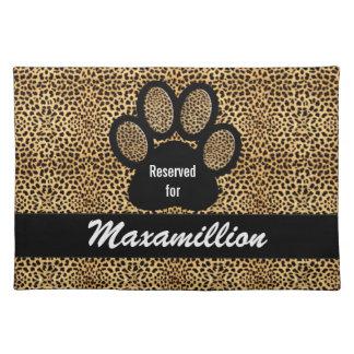 Custom Name Cheetah Print Pet Dinner Cloth Placemat