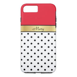 Custom Name Cherry Red, White Black Polka Dots iPhone 8 Plus/7 Plus Case