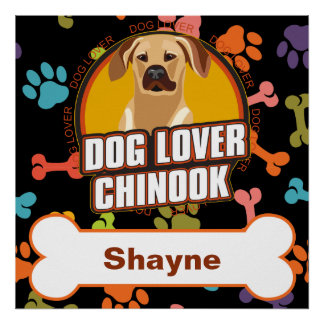 Custom Name Chinook Dog Lover Bone Puppy Paws Poster