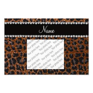 Custom name chocolate brown glitter leopard print photo print